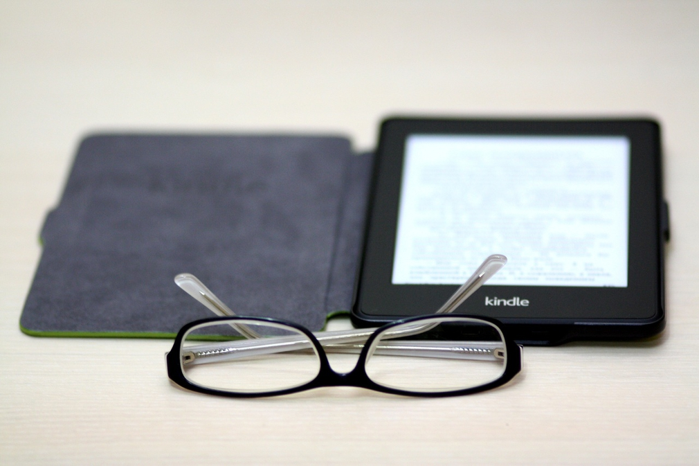 Kindle with glasses