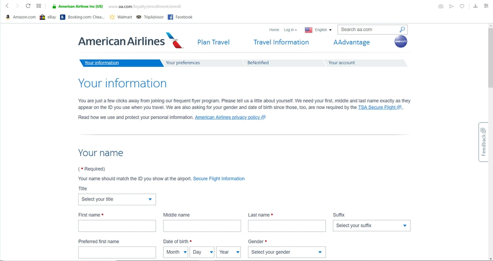 AAdvantage sign up page