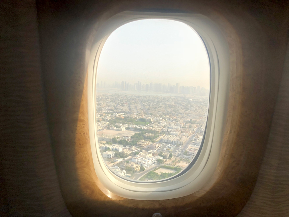 The view from EK164 on our final approach down into Dubai airport