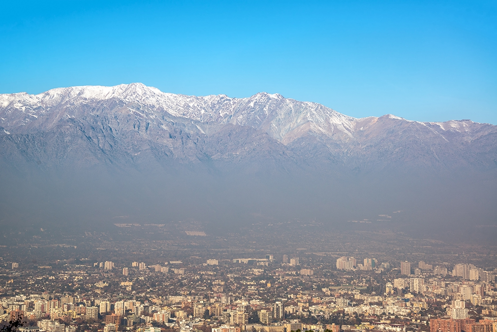 Santiago with the Andes Mountains towering behind