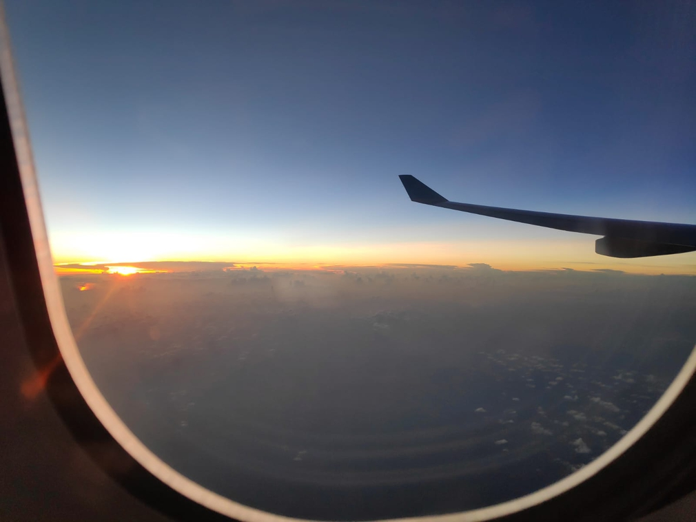 Sunset view from a plane window