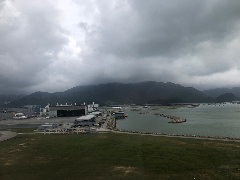 Stormy overcast Hong Kong airport