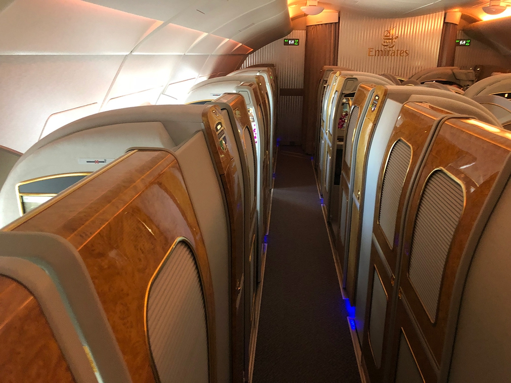 The view along the fully enclosed First Class suites on Emirates A380