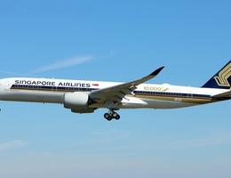 Singapore Airlines plane in flight