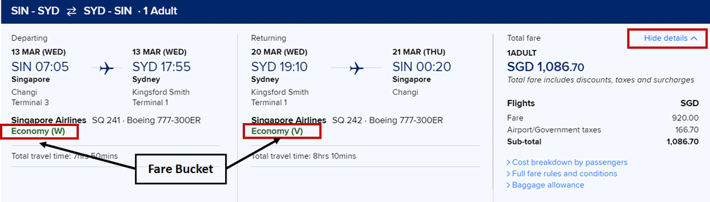 Booking tickets from Singapore to Sydney