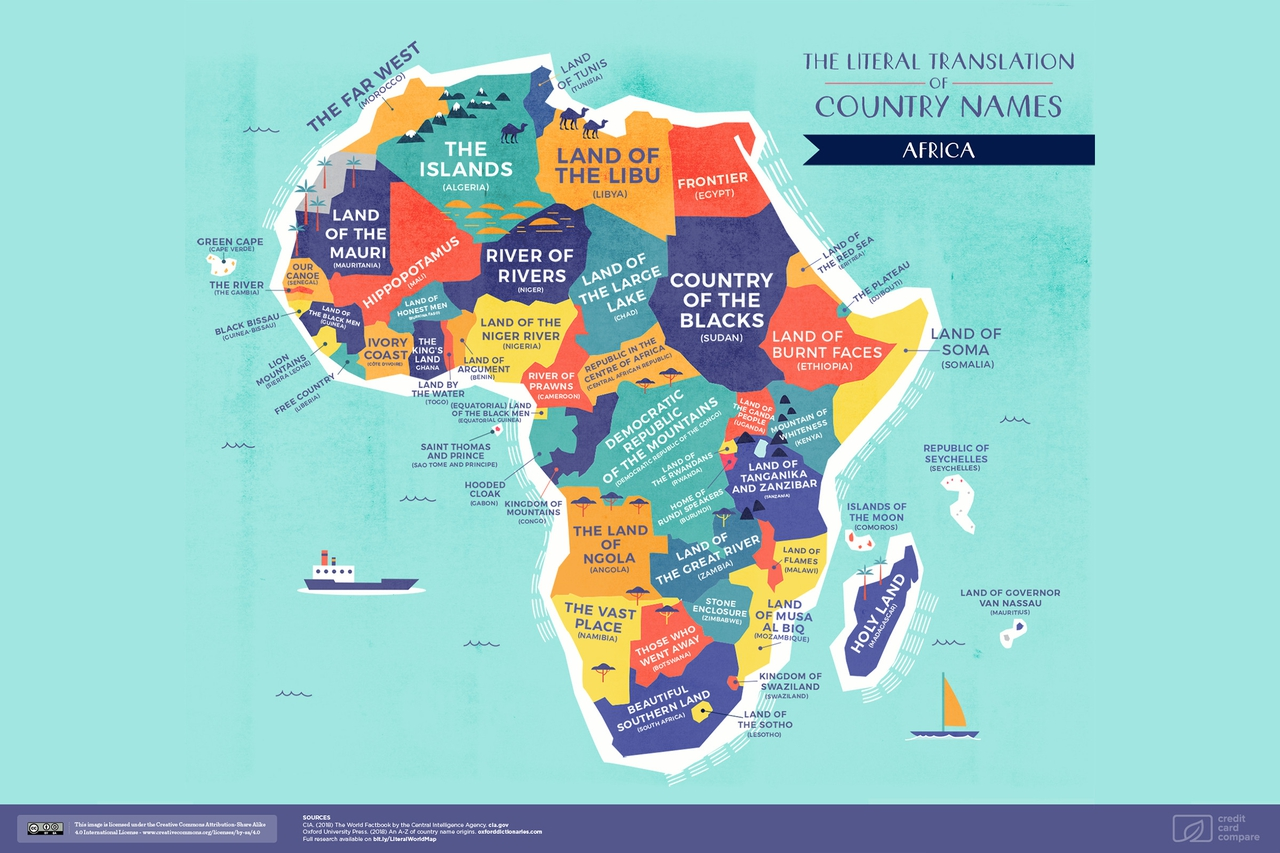 World Map: The Literal Translation of Country Names
