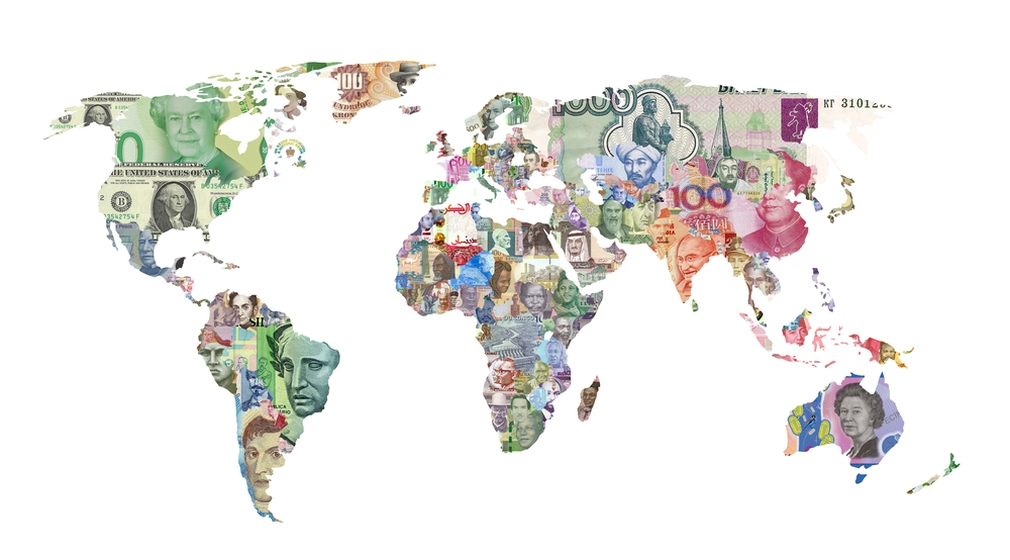 World map of local currency