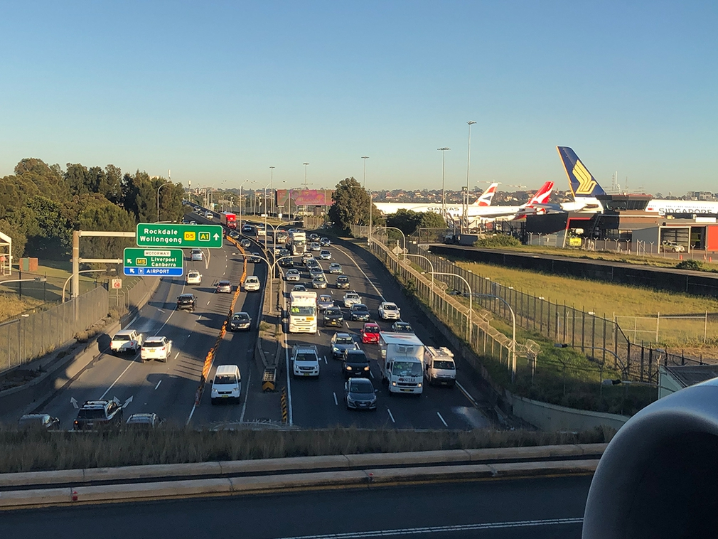 The runway overpass over the highway Sydney