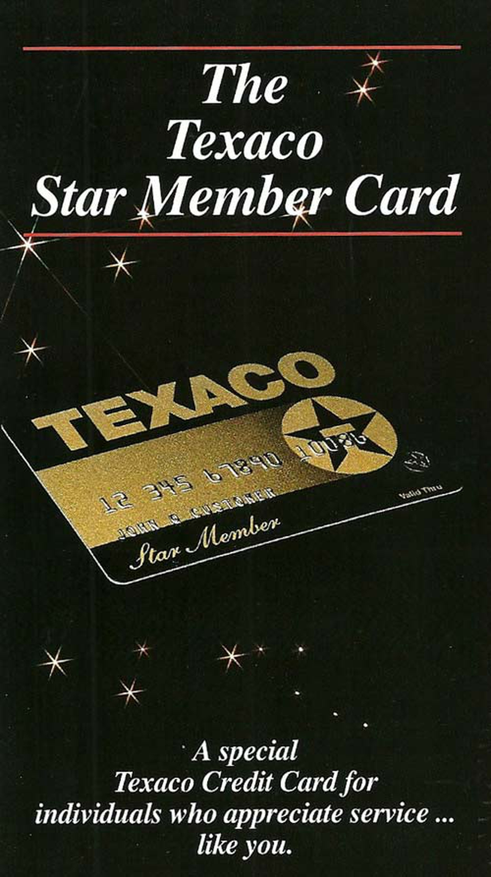 Texaco vintage credit card ad