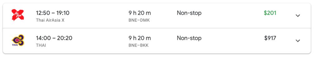 AirAsiaX vs Thai Airways
