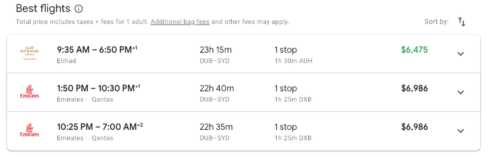 Dublin to Sydney in Emirates First