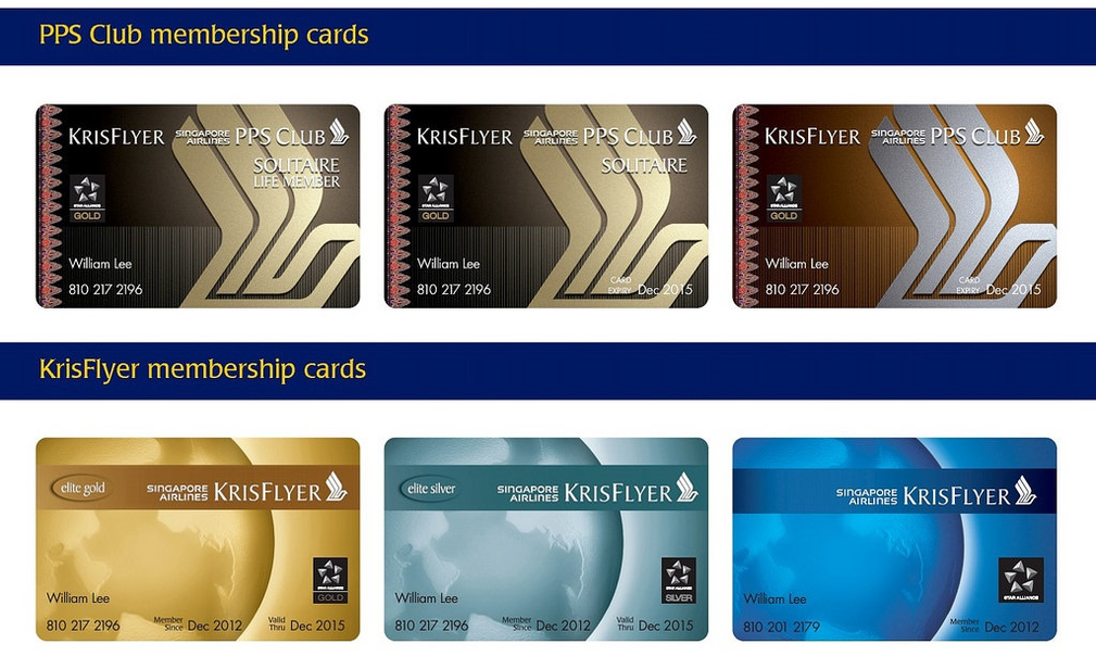 Krisflyer membership cards