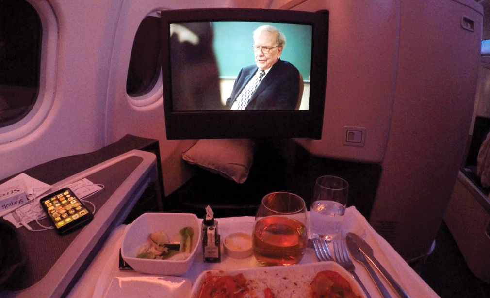 CX133 Business Class In-flight entertainment and dinner