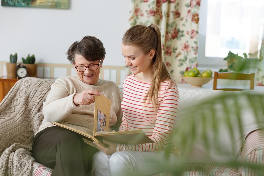 Grandma showing photo album