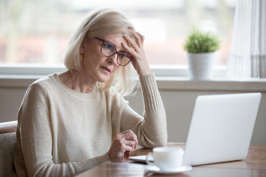 Elderly lady concerned