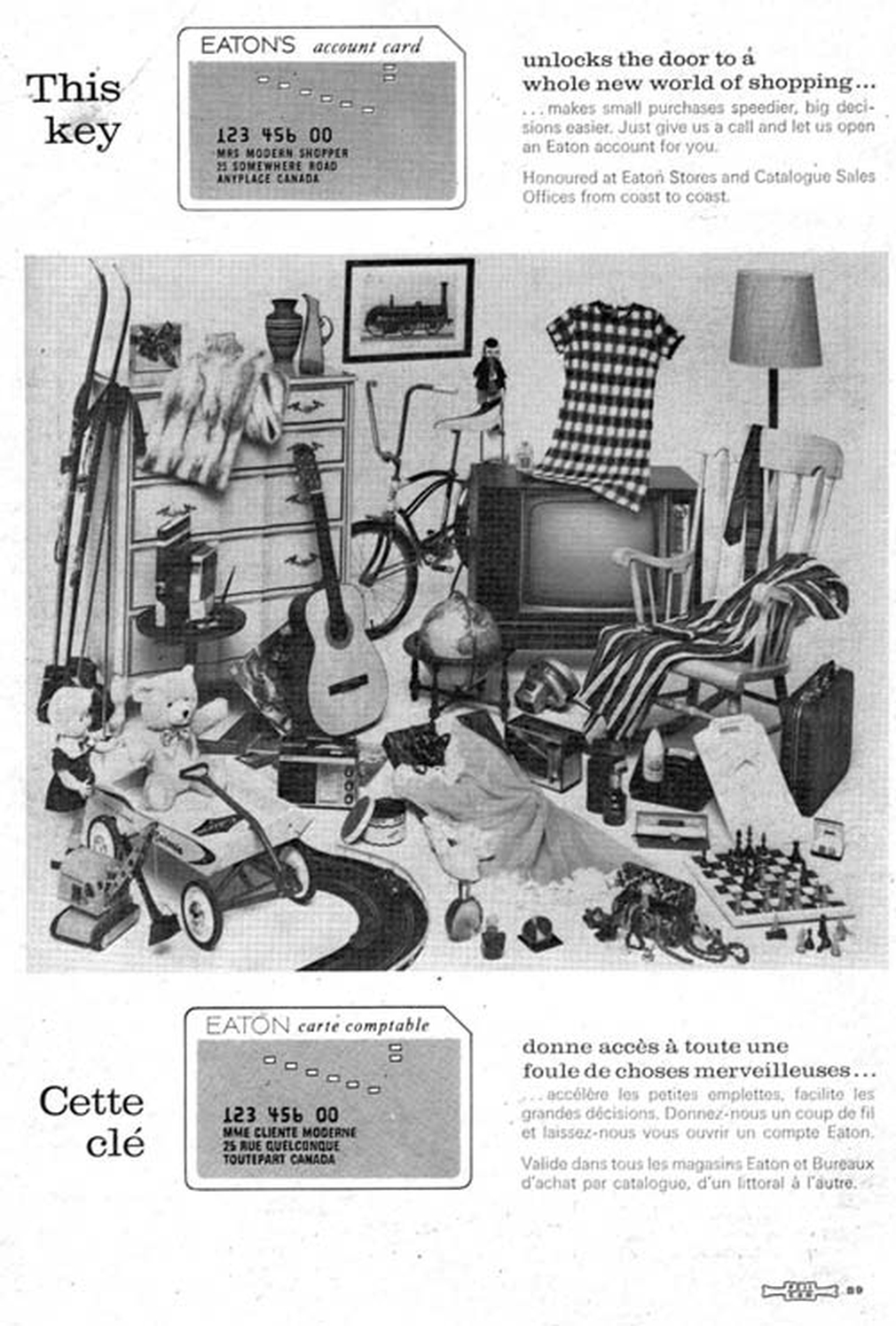 Eaton's account card vintage ad 1968