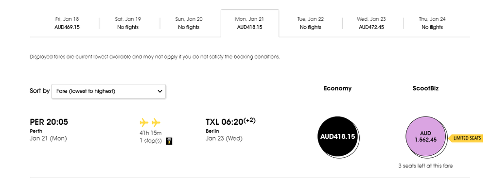 Booking on scoot