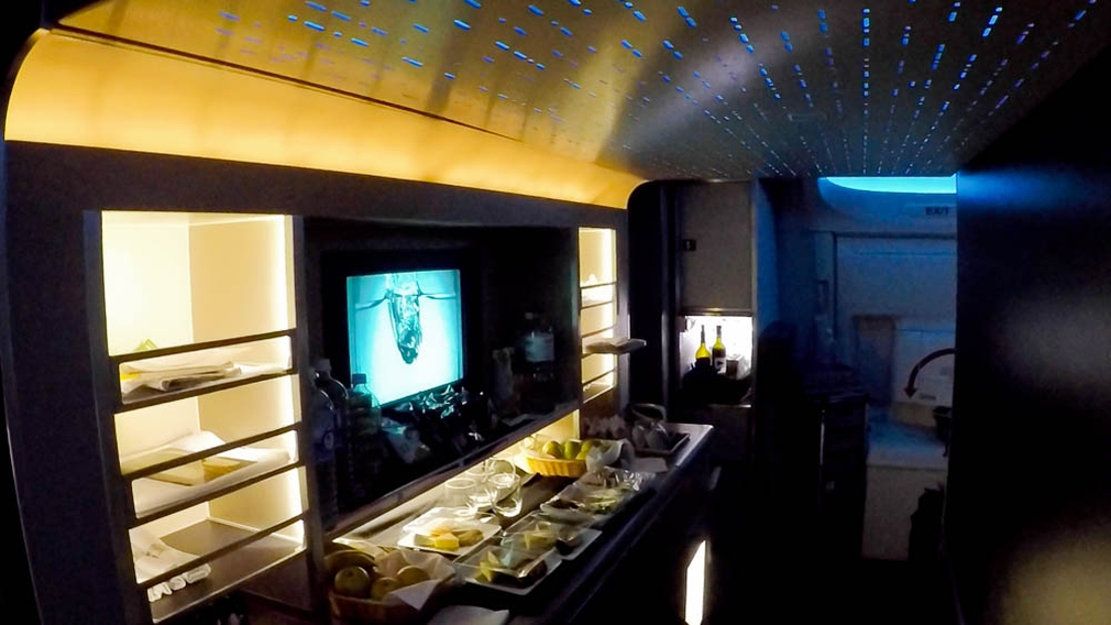 American Airlines B777-300ER snack galley