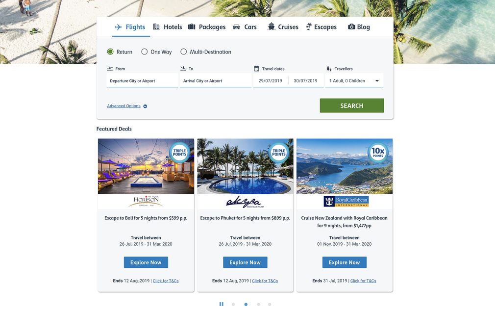 Flybuys travel homepage