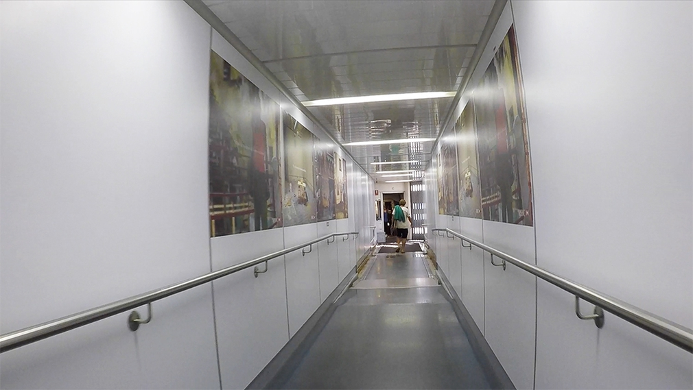 Inside the jet bridge at Sydney International Airport