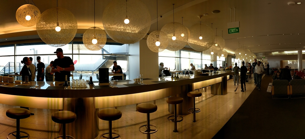 Bar and wine options Qantas lounge Sydney