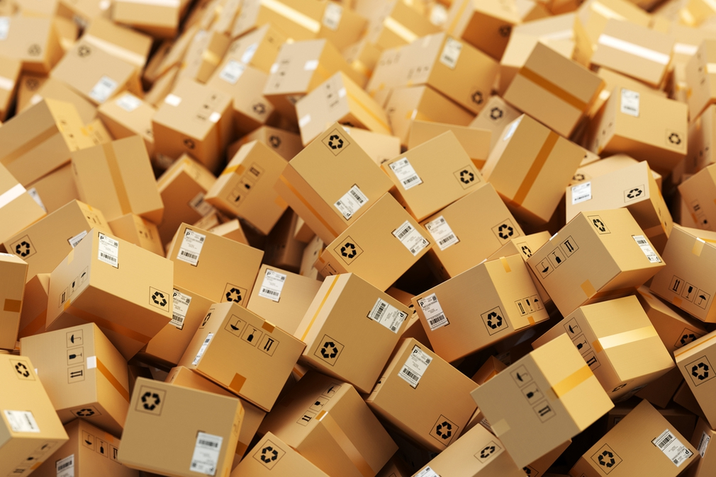 Hundreds of packages waiting for delivery