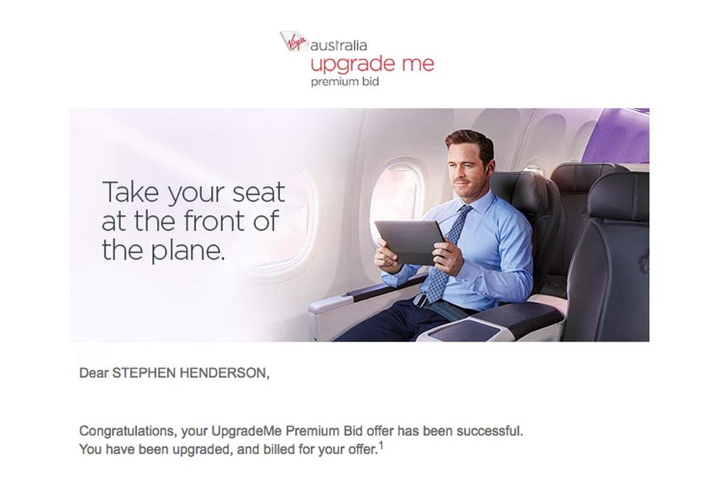 Email screenshot Virgin Australia