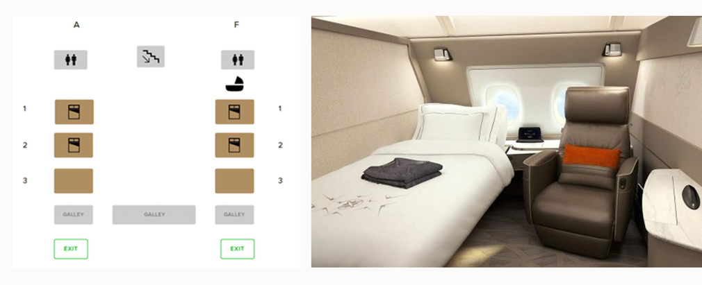 Singapore Airlines First Class seating map and seat
