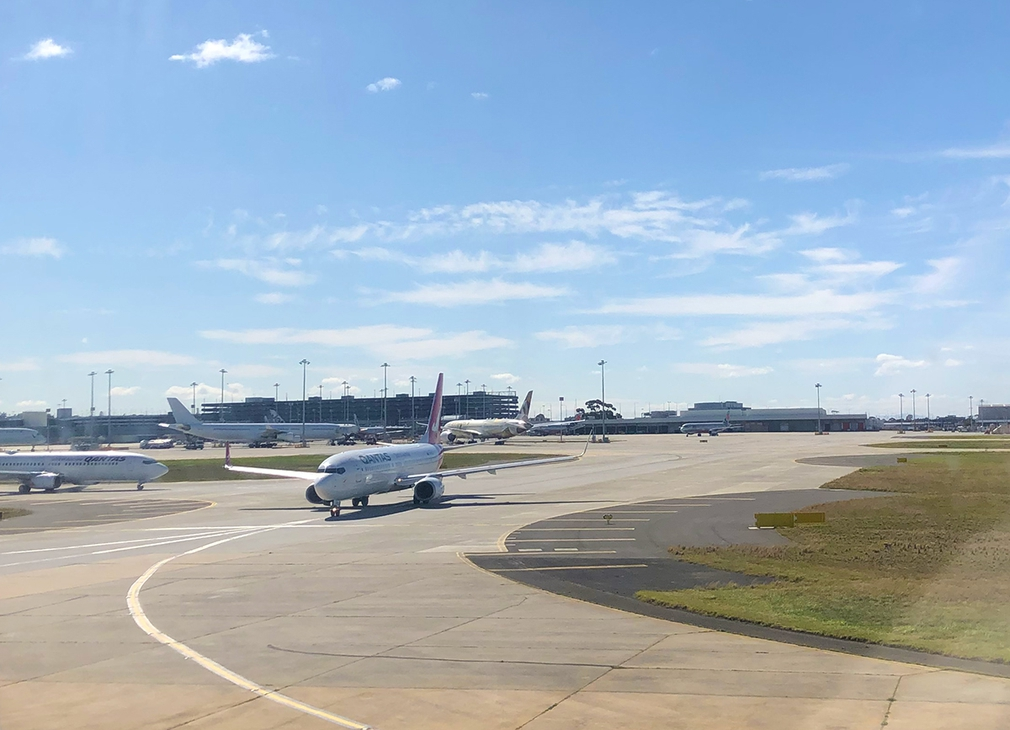 Taxiing onto the runway at Melbourne