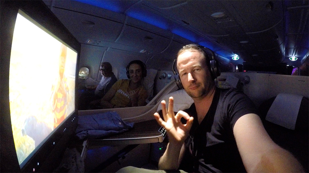 "Making the ""This is okay"" hand sign as we land in Doha just before dawn"