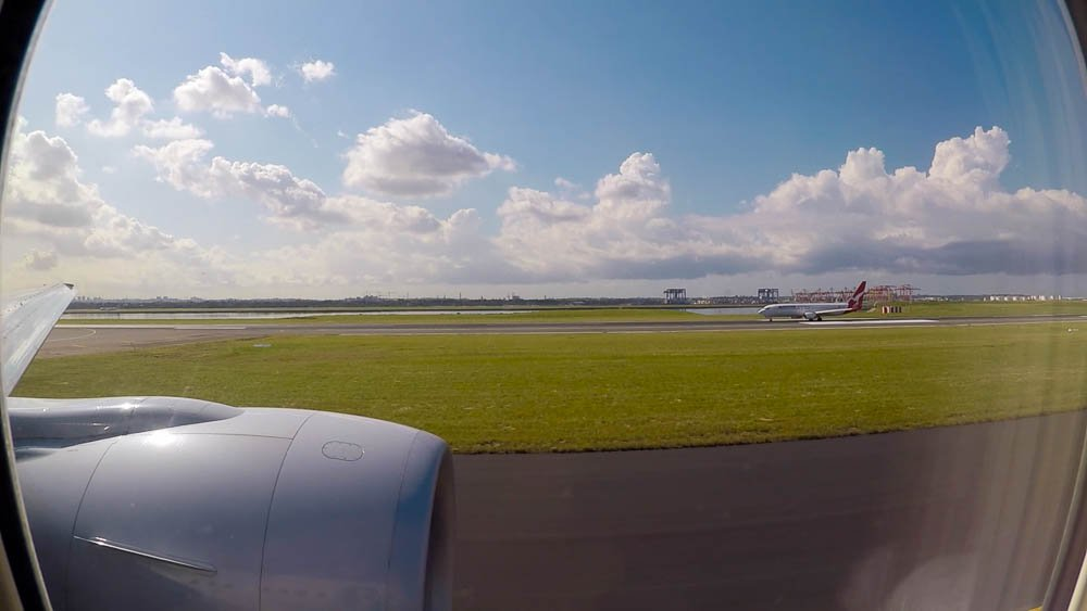 Taxiing out at Sydney International Airport.