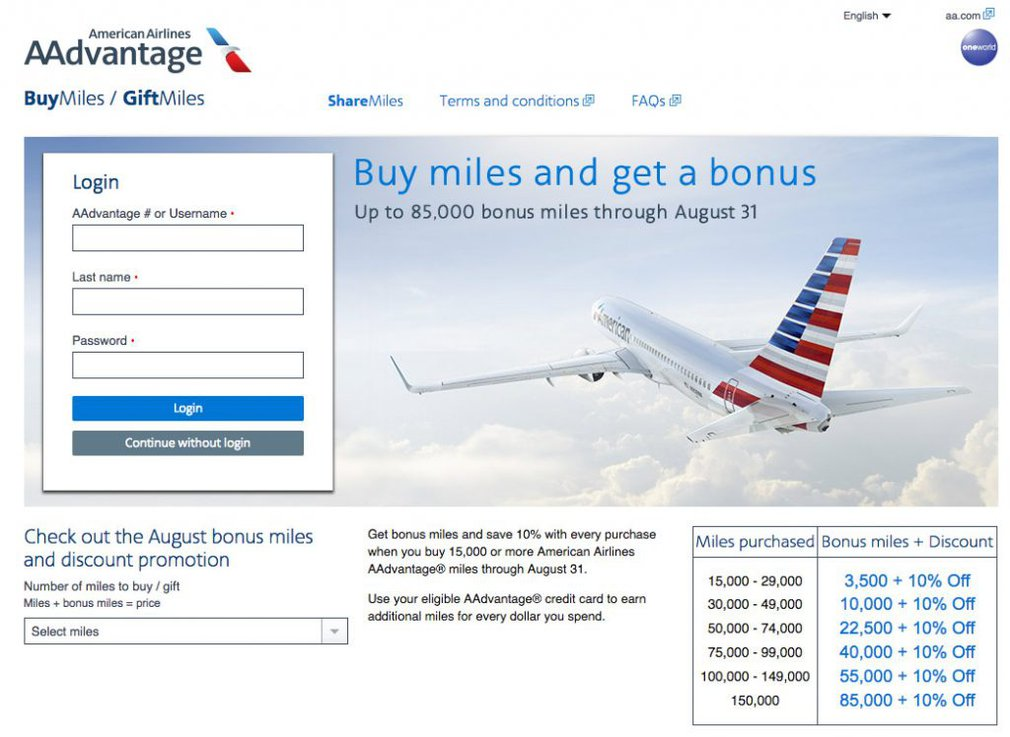 American Airlines website