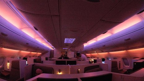 Etihad A380 EY450 mood lighting in business cabin