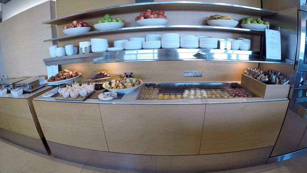 Food and drink selection in Qantas Business Lounge at Sydney International Airport