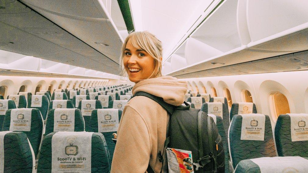 Jess on the Scoot flight