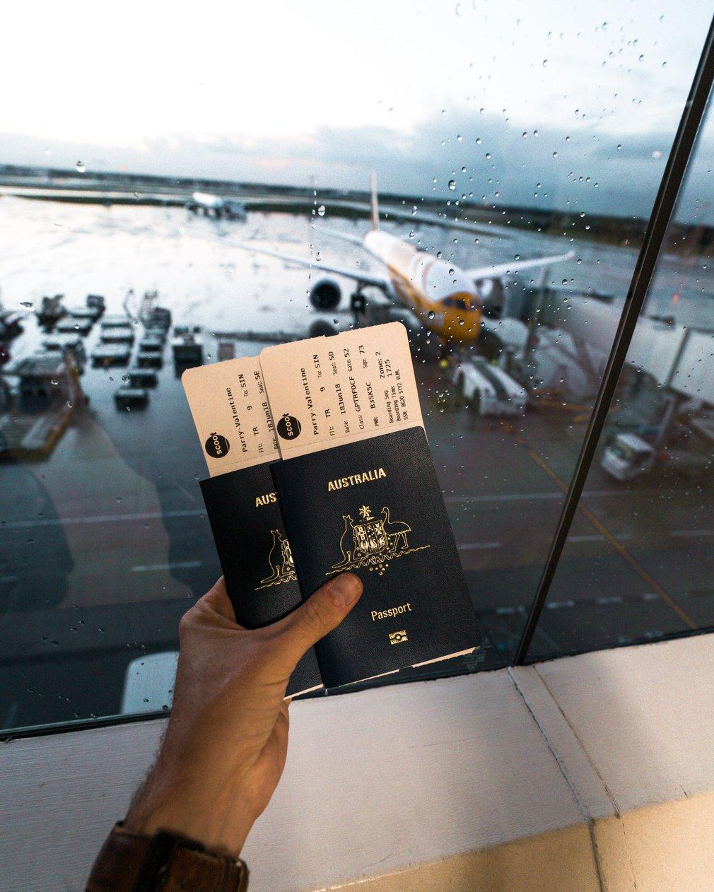 Australian passport and scoot plane