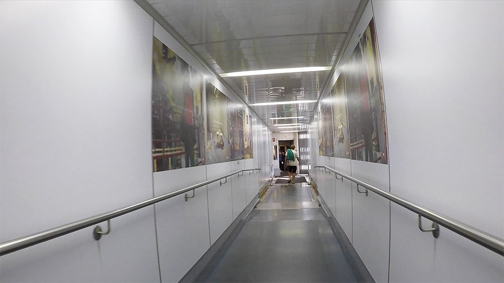 Inside the jet bridge at Sydney International Airport