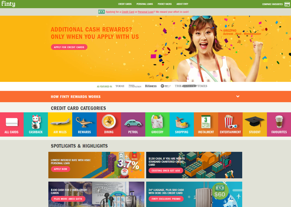 Finty homepage